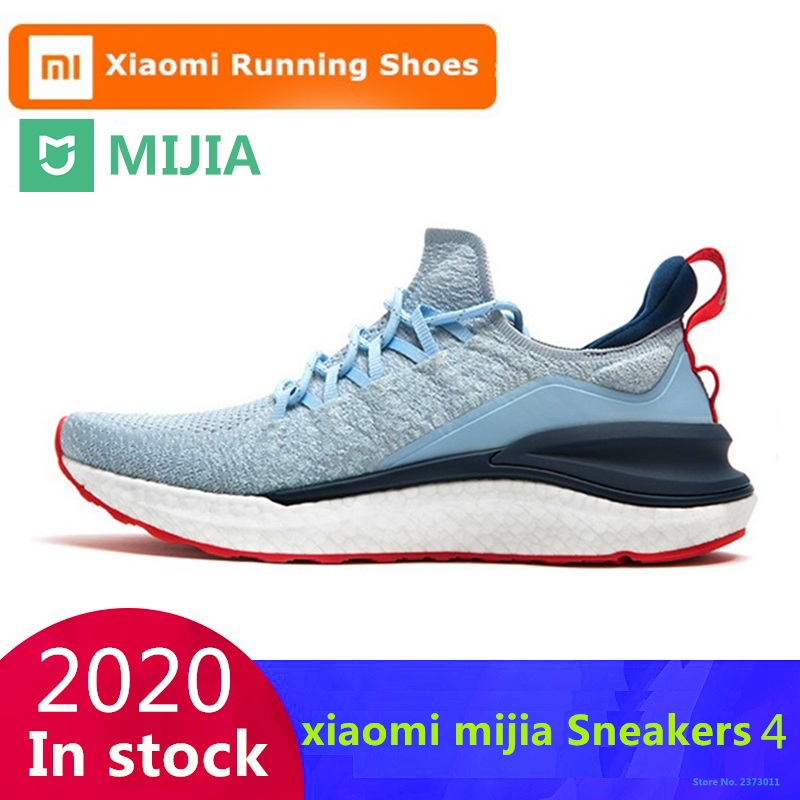 Original Xiaomi Mijia Sneakers 4 Men's Outdoor Sports Breathable Fishbone Lock System Upper 4D Fly Knitting Men Running Shoes