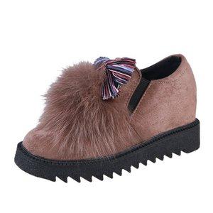 Image 5 - Модные меховые лоферы с закругленным носком для женщин, теплые лоферы из флока с полосками, повседневные разноцветные туфли на плоской подошве без шнуровки