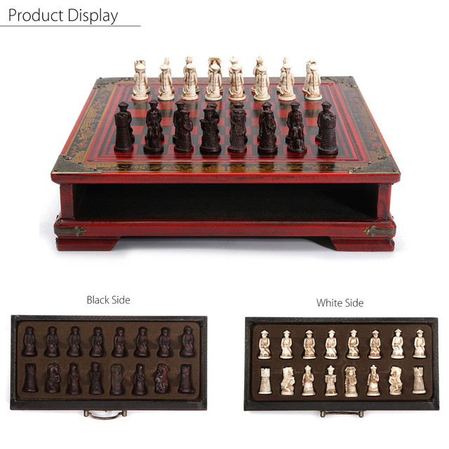 32 pièces/ensemble bois échecs chinois rétro terre cuite Chessman échecs bois faire vieux sculpture résine Chessman anniversaire cadeau de noël 5