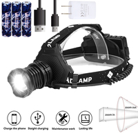 Powerful XHP70 LED Zoomable Headlamp USB Rechargeable Headlight Hunting Camping Fishing Head Lamp Lanterna+3*18650+Charger