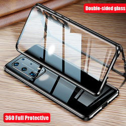На Алиэкспресс купить стекло для смартфона magnetic metal tempered glass case for huawei p40 pro camera lens protector 360 full protective back cover for huawei p40 case