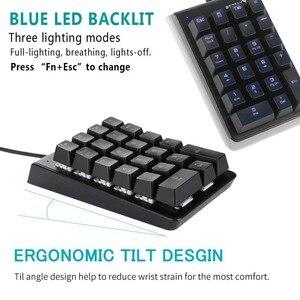 Image 5 - New Motospeed K23 USB Wired Numeric Mechanical Keyboard with OUTEMU Switch Black Blue LED Backlight 21 Keys Keypad for OSU