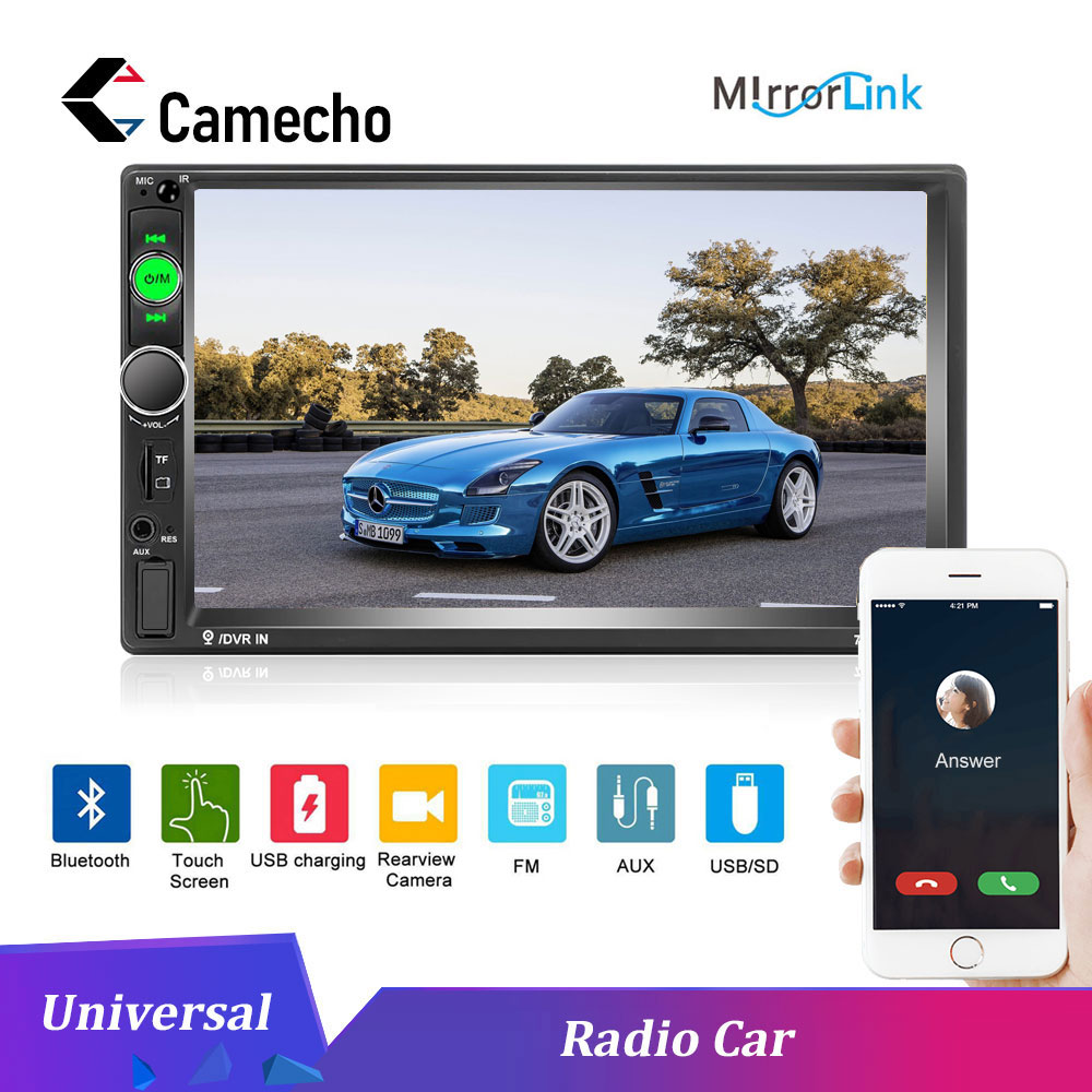 Camecho 2DIN 7 Car Radio 7010b Car Multimedia Player Universal Touch Screen MP5 Bluetooth MirrorLink Autoradio Rear View Camera image