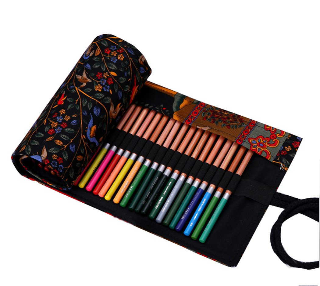 National Style Pattern Canvas Colored Pencil Roll Wrap 12/24/36/48/72 Slots Storage Pencil Elephant Red Black Tree