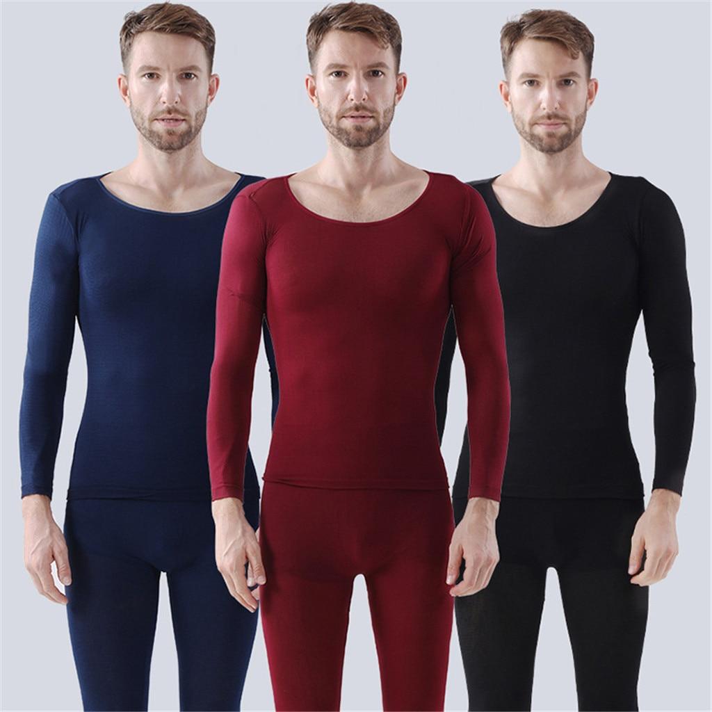 Men Fashion Seamless Elastic Thermal Inner Wear Ultra-thin Brief Autumn Clothes Body Shaping Dailywear Thermal Underwear