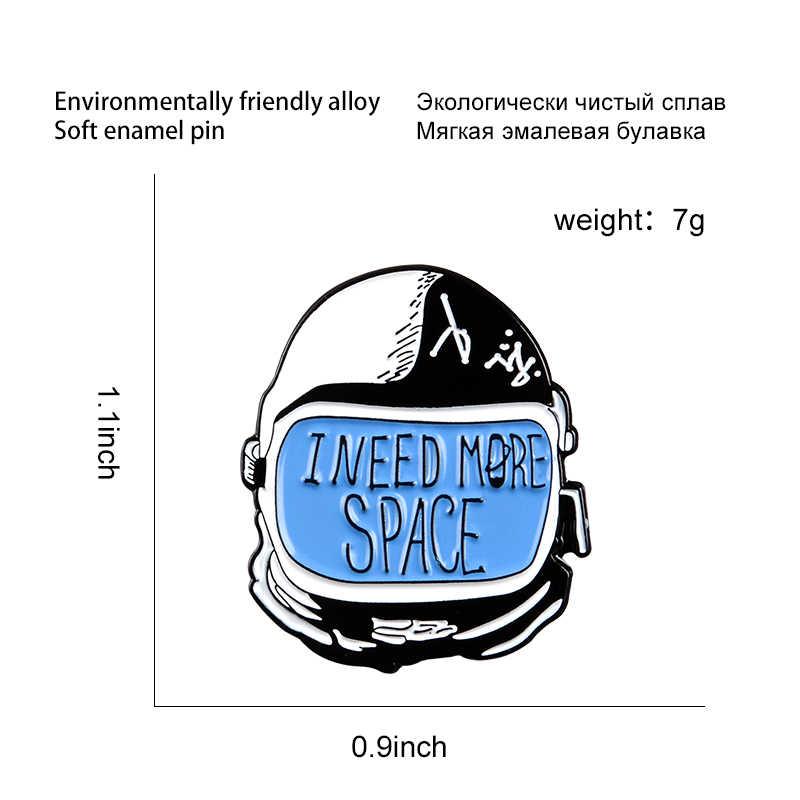 私はより宇宙飛行士エナメルピンカスタム宇宙飛行士ブローチバックパック服ラペルピンバッジ楽しいジュエリーギフト子供友人