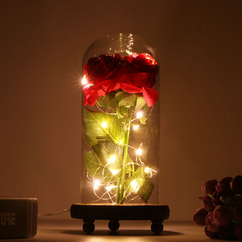 Rose Lamps Red Silk Rose Led Light with Fallen Petals in Glass Dome on Wooden Base for Home Decor Holiday Party Anniversary red rose with fallen petals in a glass dome on a wooden base birthday gift beauty