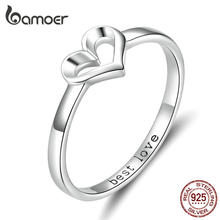 bamoer Minimalist Simple Heart Finger Ring Best Love Engraved Promise Engagement Rings for Women 925 Silver Jewelry SCR578(China)