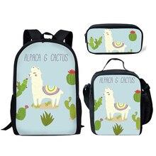 NOISYDESIGNS Kids School Bags Cute Alpaca Printing Schoolbag Children 3pcs/set Primary Bag Girls Bookbag Rucksack