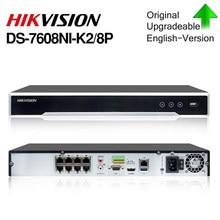 Hikvision original nvr DS-7608NI-K2/8p 8ch poe nvr 8mp 4k registro 2 sata para poe câmera de segurança gravador vídeo rede
