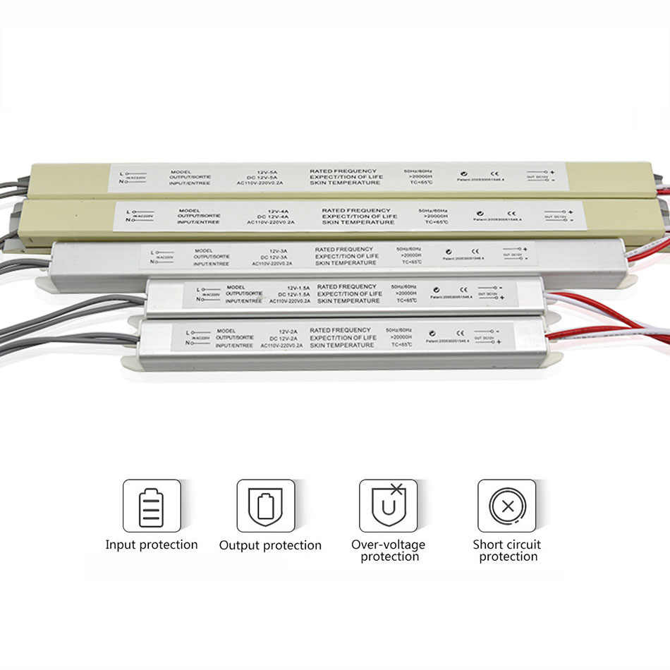 Ultra Thin LED Power Supply DC12V 18W 25W 36W 48W 60W Lighting Transformers AC110-220V Driver for LED Strips Advertising Board