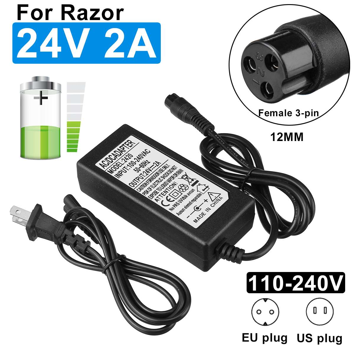24V 2A Electric Scooter Battery Charger Fr RAZOR E100 E200 E300 E125 E150 E500 For Razor Charger Connector Adapter