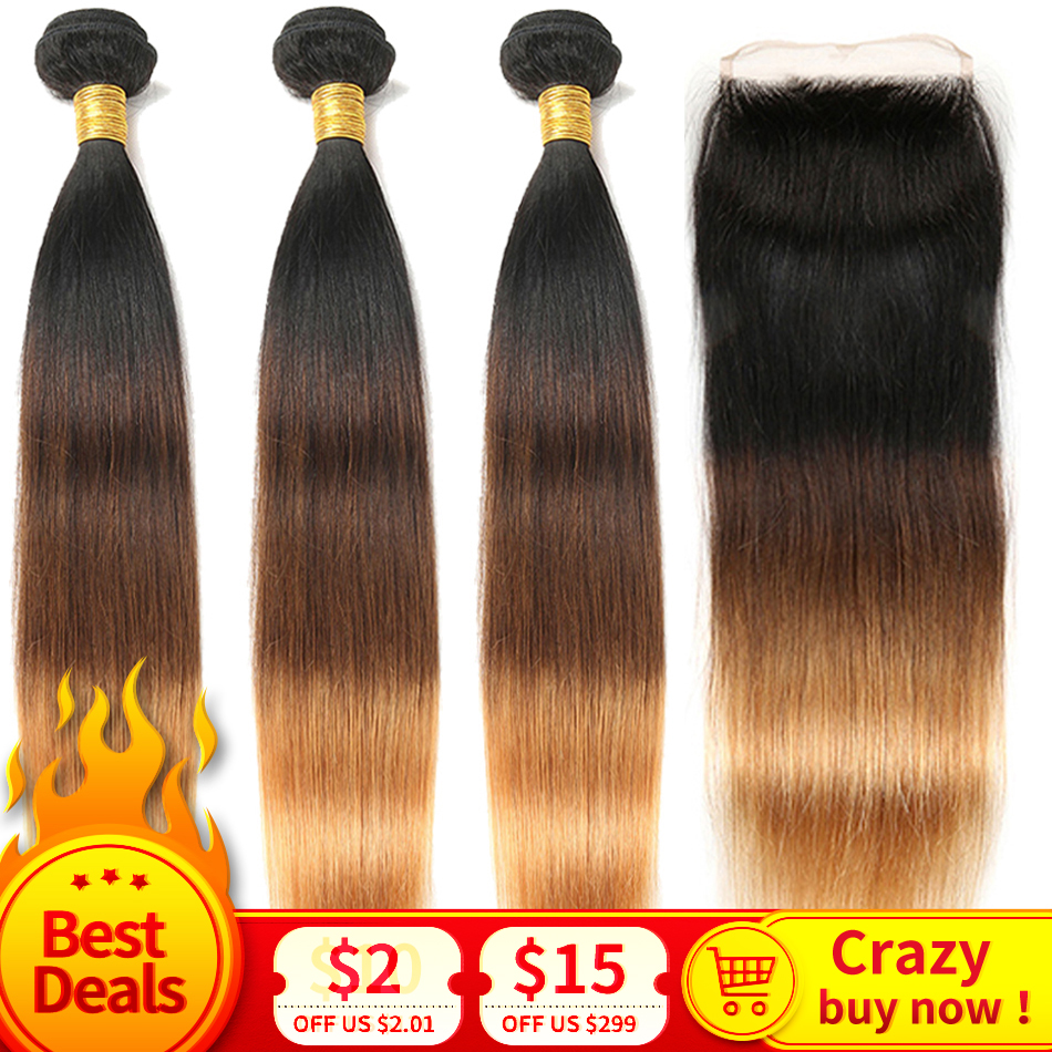 Ombre Straight Hair Bundles with Closure 1B/4/30 Honey Blonde 3 Bundles Brazilian Human Hair with Closure Remy Hair Extensions