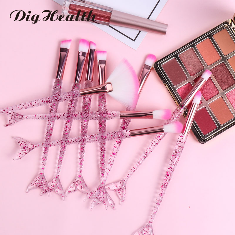 Dighealth Makeup Brushes Mermaid Brush Foundation Powder Eye Shadow Eyeliner Eyebrow Blush Lip Make Up Brush Face Cosmetic Tool
