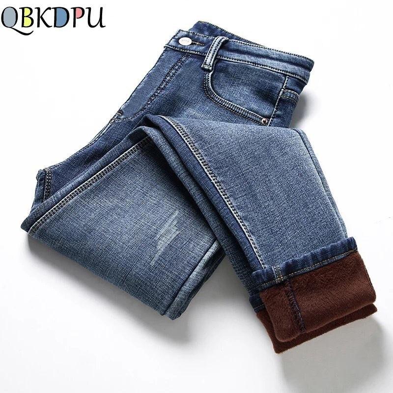 Plus Velvet High Waist Jeans Women Warm Thick Autumn Winter Jeans Femme Casual Vintage Trouser Skinny Stretch Denim Pencil Pant