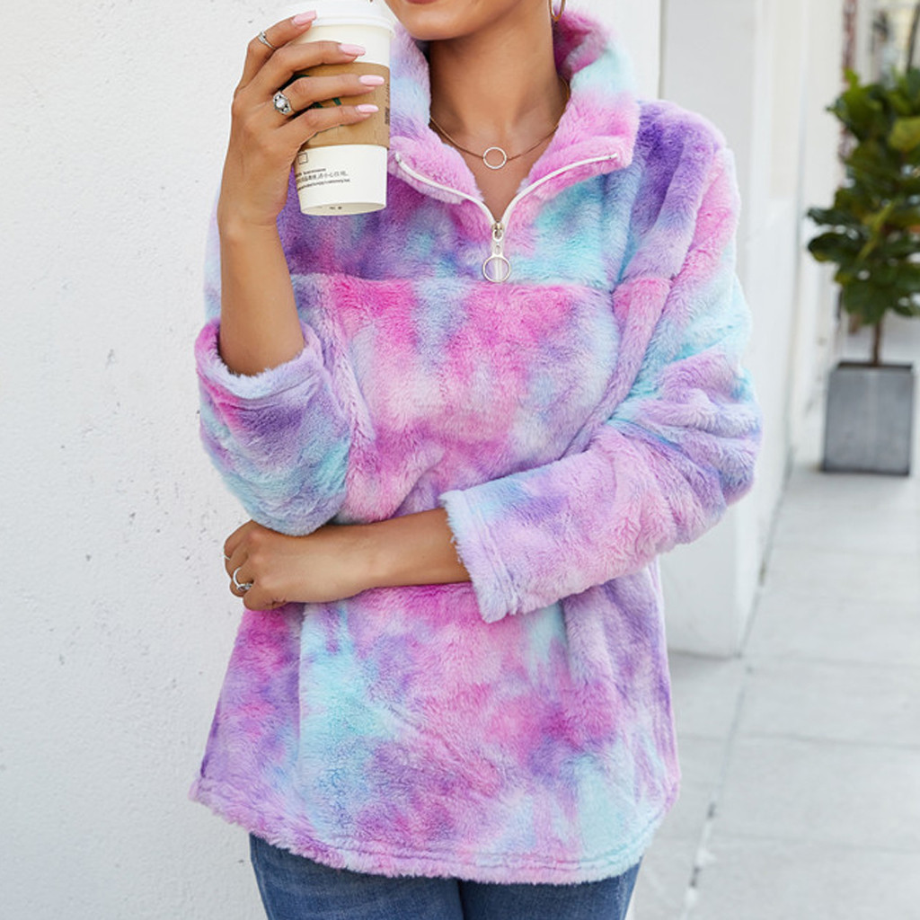 Mantel Bulu Wanita Sweatshirt Turtleneck Lengan Panjang