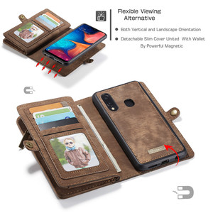 Image 2 - for Samsung Galaxy A20 A20E A30 A40 A50 A70 Wallet Case 2 in 1 Detachable Genuine Leather Magnetic Flip Cover Case