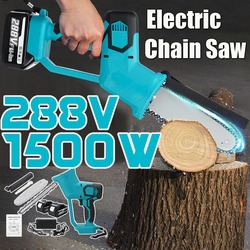 8 Inch 288V Rechargeable Electric Saw Chainsaw 1500W Brushless Motor with 2 Batteries Woodworking Cutter Tool For Makita Battery