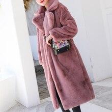 女性厚い高品質フェイクラビットファーコートの冬の高級ロングの毛皮ラペルオーバーコートプラスサイズ暖かい女性ぬいぐるみコート