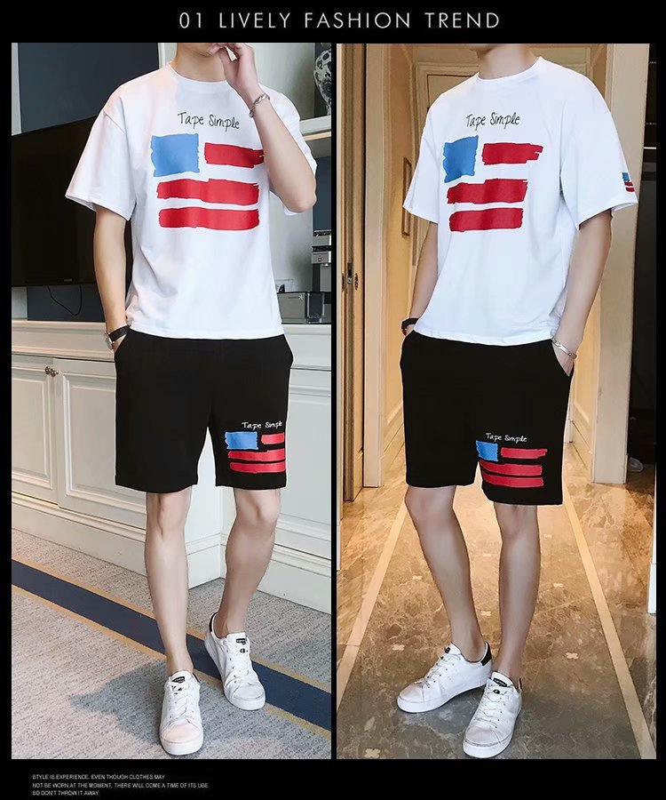 Summer Loose-Fit MEN'S Short-sleeved T-shirt Shorts Two-Piece Set Collocation Casual Trend Students Clothes Social Set Men's