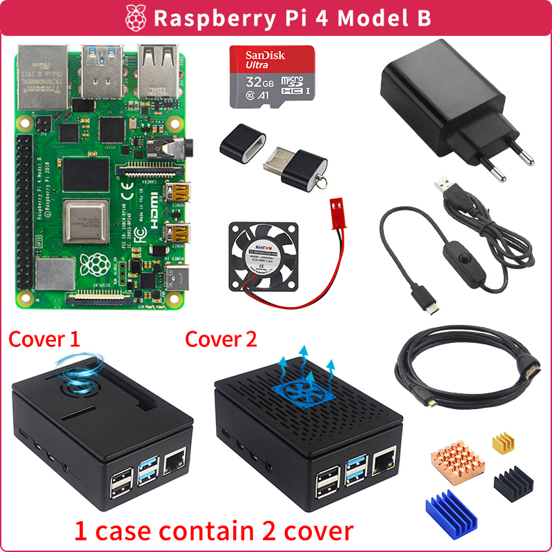 Raspberry Pi 4 8GB/4GB/2GB Kit + Power Adapter + ABS Case +16GB/32GB SD Card +Card Reader + Heat Sink for Raspberry Pi 4 Model B