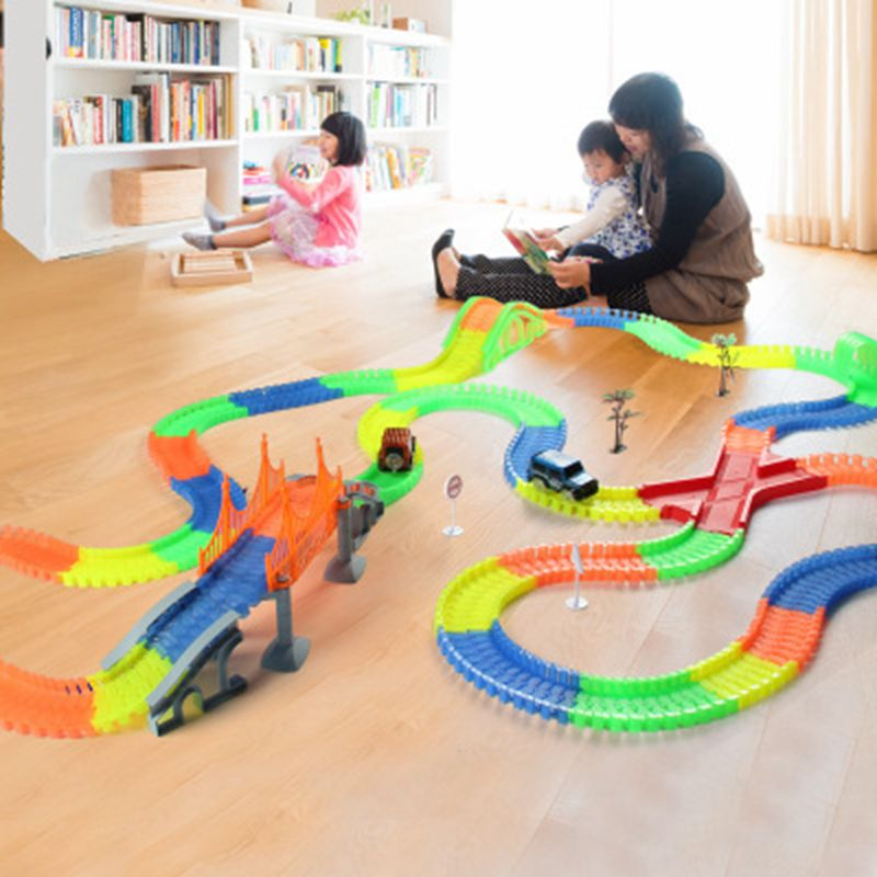 Track Car Racing Railway Magical Glowing Track Car Toys Children Racing Bend Rail Track Led Flash Light Car DIY Toy Kids Gift
