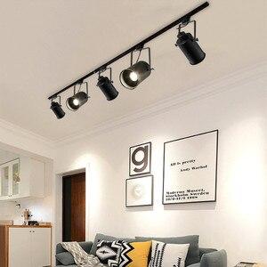 Image 5 - בציר תקרת אור שחור ברזל LED תקרת מנורת תעשייתי מסלול מנורת בגדי רטרו רכבת ספוט אור luminaire מטבח מתקן