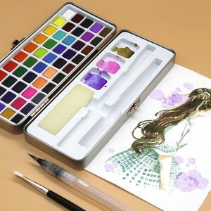 Image 5 - הגעה חדשה 50 צבע שקוף מוצק בצבעי מים נייד צבע בצבעי מים לילדים ציור בצבעי מים נייר ספקי