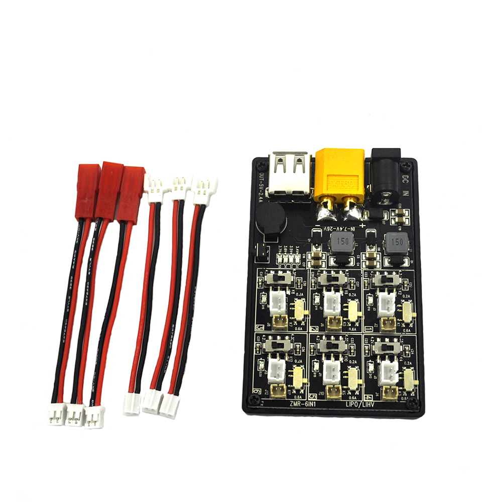 6in1 XT60 1S Lipo Charger Low Voltage Automatic Alarm LiHV Battery Charging Board w/Display LED Indicator Input 12V3A adapter image