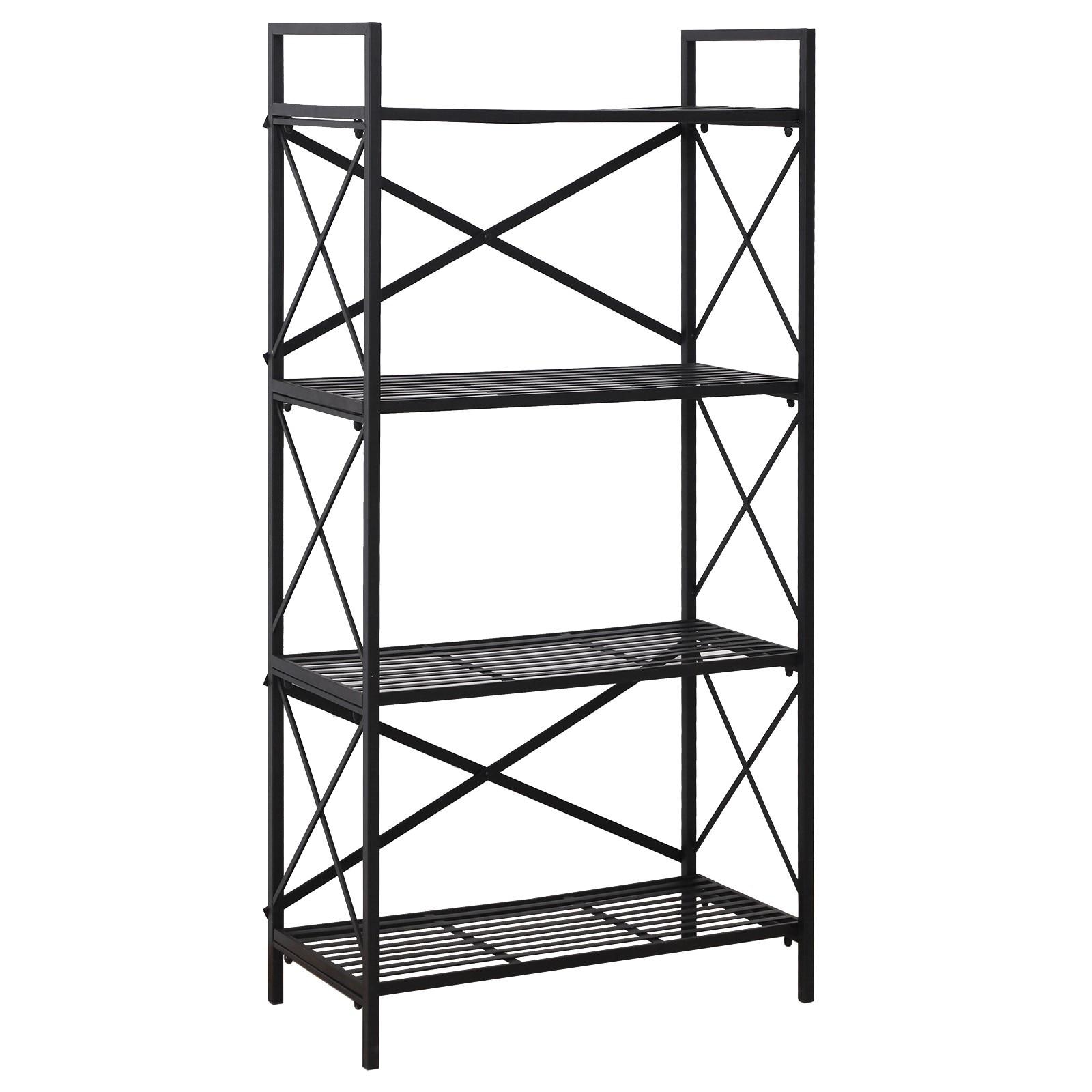 HOMCOM 4 Shelf Shelves Space Saving For House Office Garage Metal 80x40x160 Cm Black