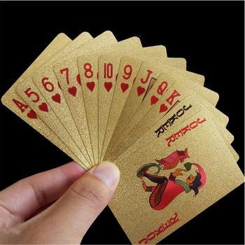 Nowy złote karty do gry do gry gra luksusowa złota folia zestaw do gry w pokera z tworzywa sztucznego folia w pokera trwałe wodoodporne karty prezent kolekcja gry stołowe tanie i dobre opinie 3 lat 0-30 minut Other Art kategoria Normalne Pokrywa karty Podstawowym