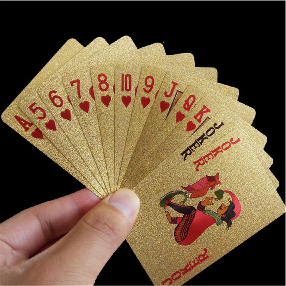 Nuevo juego de naipes dorados juego de póquer de papel de oro de lujo juego de cartas de plástico resistente al agua cartas de regalo colección de juegos de mesa Plástico de calidad IQ Logic Puzzle mente cerebro Teaser cuentas Tangram puzles juego regalo para niños adultos