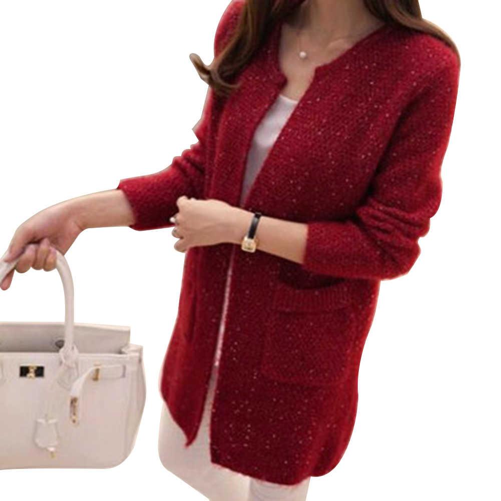 겨울 따뜻한 패션 여성 솔리드 컬러 포켓 니트 스웨터 튜닉 가디건
