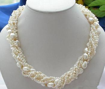 Unique Pearls jewellery Store 3-9mm White Baroque Genuine Freshwater Pearl Necklace Charming Women Gift  Fine Jewelry