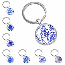 HOT! 2019 New Handmade Chinese Style White Porcelain Petal Flower Series Glass Convex Classic Key Ring Jewelry Gift