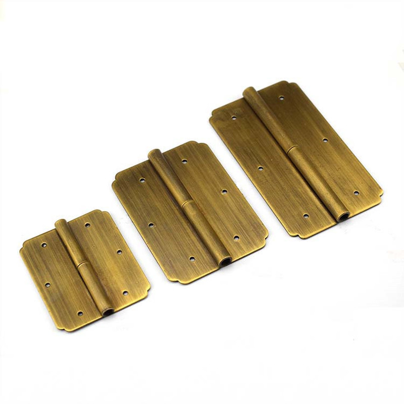 Mini Door Hinge Brass Bronze Chinese Furniture Hardware Retro Style For Wine Cabinet Drawer Jewellery Wood Box Deck Butt Hinges