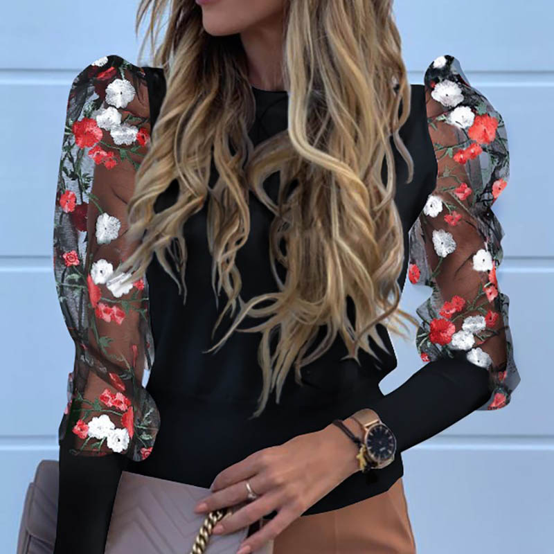 Elegant See Through Puff Sleeve Blouse Shirts Women Autumn Flower Print Blusa Lady Embroidery Sheer Mesh Pullovers Blouses Tops