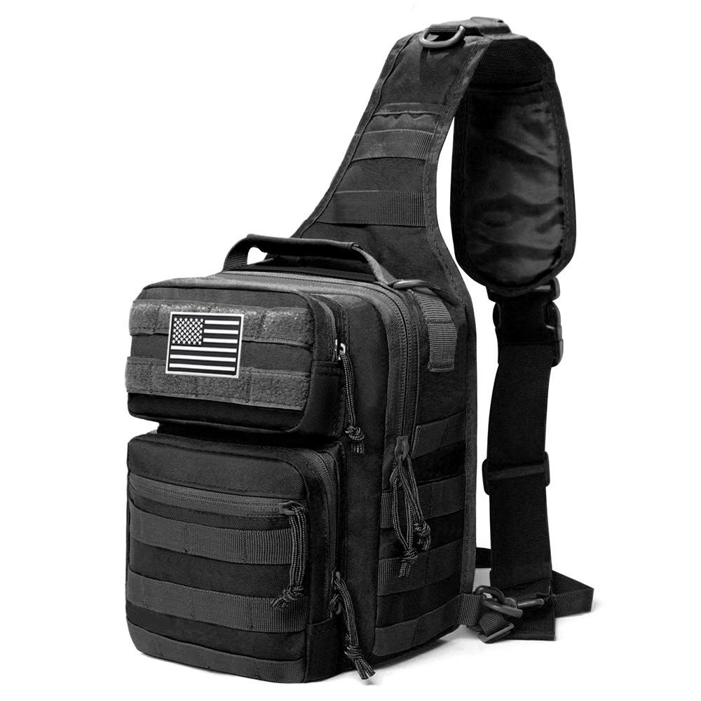 600D Military Tactical Single Shoulder Backpack Army Molle Assault Sling Bag Small EDC One Strap Daypack Military Tactical Messenger Bag Outdoor Hiking Camping Trekking Rucksack Army Assault Sling Backpack Flag Patch