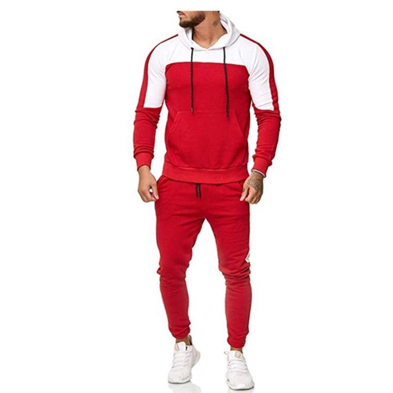 Casual Body-buildingHoodies Tracksuits Solid 2 Piece Men Set Autumn Cotton Edge Zipper Hooded  Mens Sportwear Suits   Street Sty