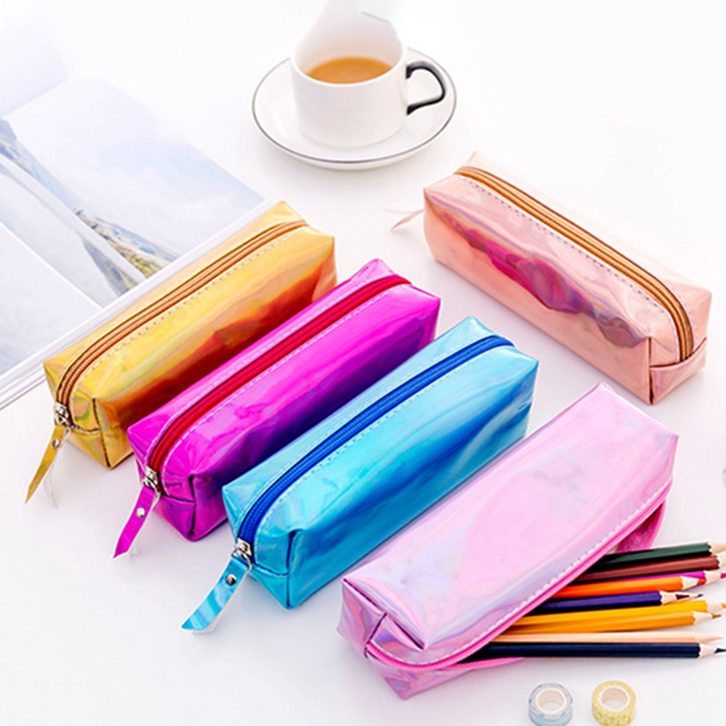 Pencil Storage Bags Simple Candy Girl Heart Square Cool Laser Cartoon Pencil Case 18x6x4.5cm Storage Pencil Case