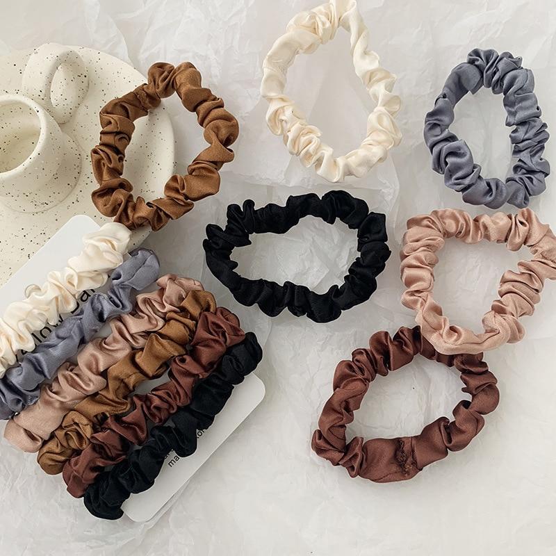 1/6 PCS Elastic Hairbands Hair Tie Women For Hair Accessories Satin Scrunchies Stretch Ponytail Holders Handmade Gift Heandband