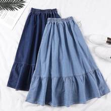 Summer Saia Female A-Line Long Denim Skirt Pockets Women High Waist Midi Jeans Skirts Dark Blue,Light Blue Plus Size Skirt AE591(China)