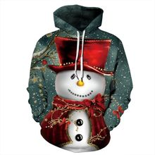 Jessingshow Plus Size 3D Printing Snowman Hoodies Men Women Unisex Christmas Sweatshirt Lover Casual Hoody Sweatshirt Streetwear plus size merry christmas skew collar sweatshirt