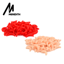 цена MEREDITH 50pcs 100pcs 150pcs 200pcs 2cm 0.38g Maggot Grub Soft Lure Baits smell Worms Glow Shrimps Fishing Lures онлайн в 2017 году