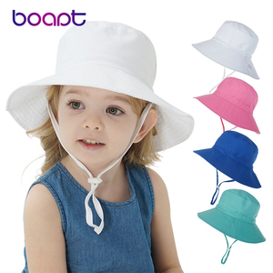 16 Colors Summer Baby Cap For Girls Boys Kids Bucket Hat Spring Autumn Travel Beach School Cap Sun Panama With Windproof Rope
