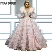 Formal Feathers Evening Dresses With Beading Vestidos Arabic Dubai Ball Gown Prom Dress Abendkleider 2019 Robe De Soiree Party