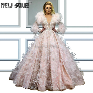 Image 1 - Formal Feathers Evening Dresses With Beading Vestidos Arabic Dubai Ball Gown Prom Dress Abendkleider 2019 Robe De Soiree Party