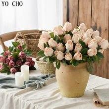 YO CHO 1 букет с 9 маленькими розами Искусственные цветы Шелковые Розы Декоративные цветы украшение дома для свадьбы искусственный цветок Роза