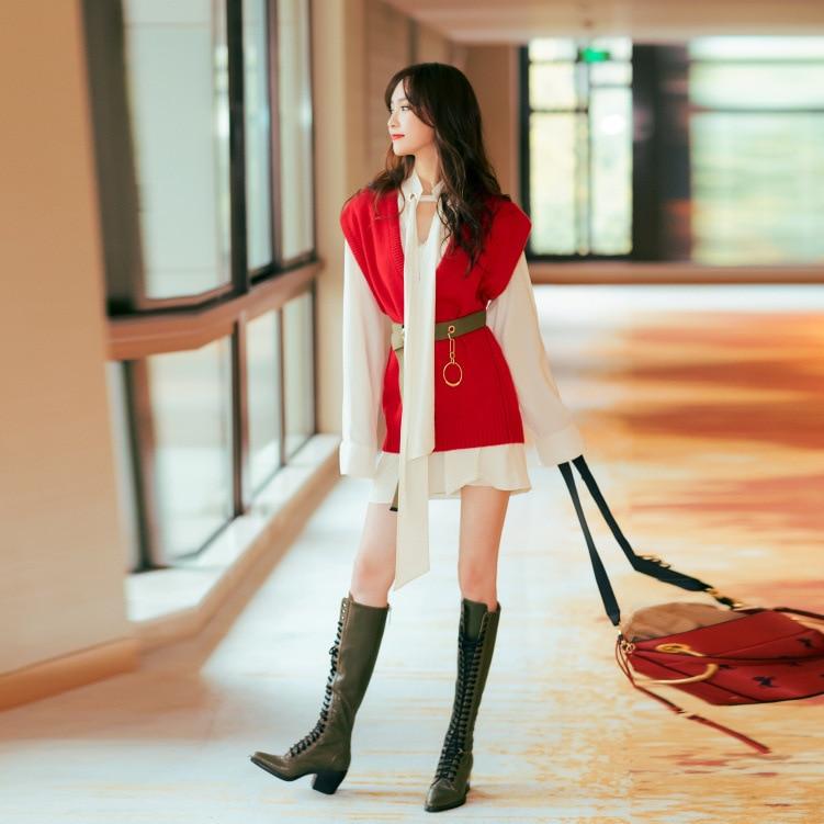 Star Same Red Loose V-neck Sleeveless Sweater 2019 V-Neck Pullovers Women