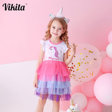 Kids Sleeveless Lace Drsses for Girls Party Dress Unicorn Embroidery Birthday Tutu Dresses Children Casual Wear Summer Vestidos